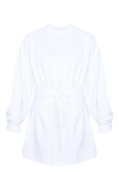 WHITE CORSET DETAIL LONG LENGTH SWEAT JUMPER DRESS