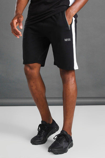 MEN ACTIVE SIDE STRIPE BLACK LIGHT WEIGHT ZIP SHORTS
