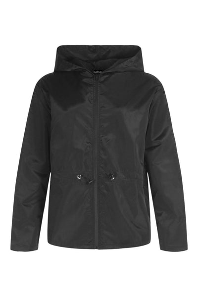 BLACK FUNNEL NECK ZIP HOODIED WINDBREAKER