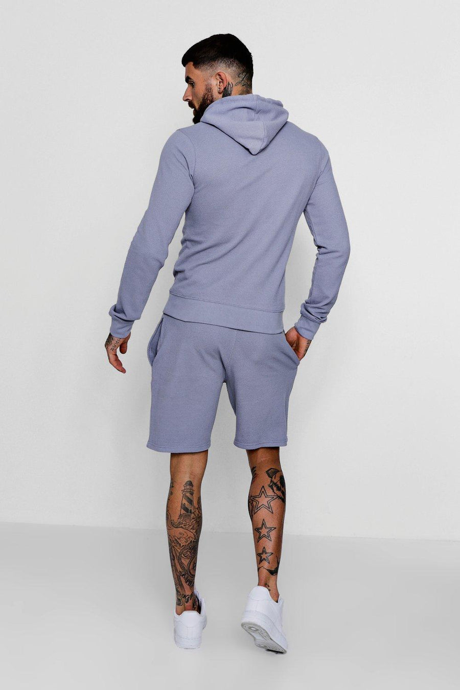 BLUE PIQUE HOODED SHORT TRACKSUIT FOR TROPICAL WEATHER