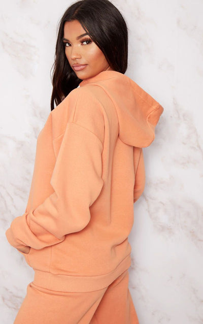 PRETTYLITTLETHING CHESTNUT EMBROIDERED OVERSIZED HOODIE