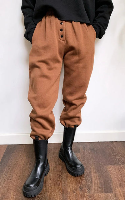 BROWN POPPER FRONT REGULAR FIT JOGGERS