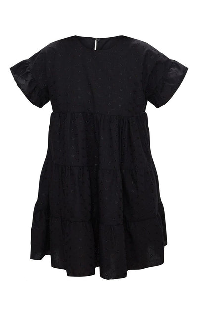 BLACK BRODERIE ANGLAISE SMOCK DRESS 100% COTTON SUMMER/SPRING
