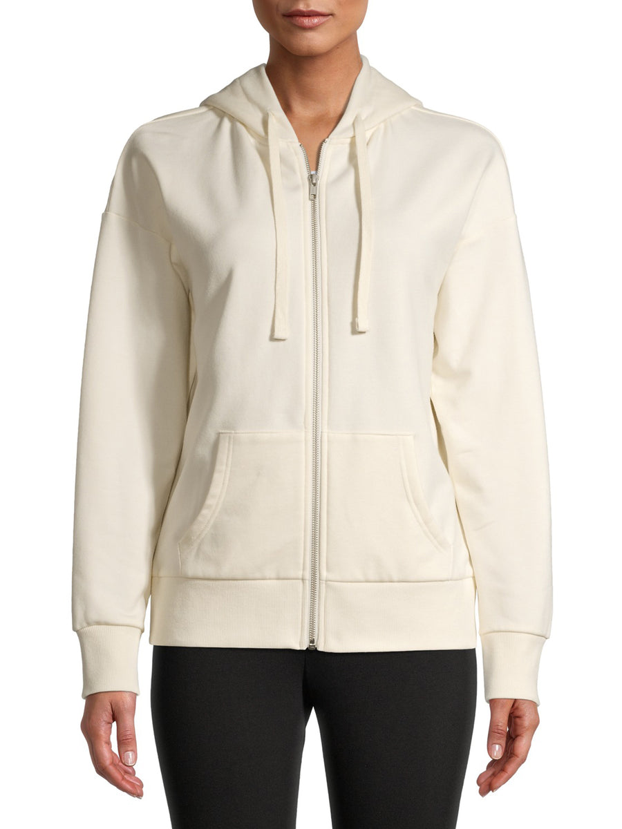 Lefties Women Basic Off White Regular Fit Zip Hoodie
