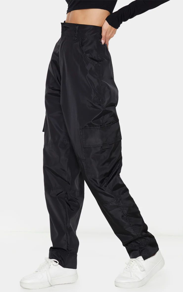 BLACK SHELL STRAIGHT CARGO POCKET JOGGERS