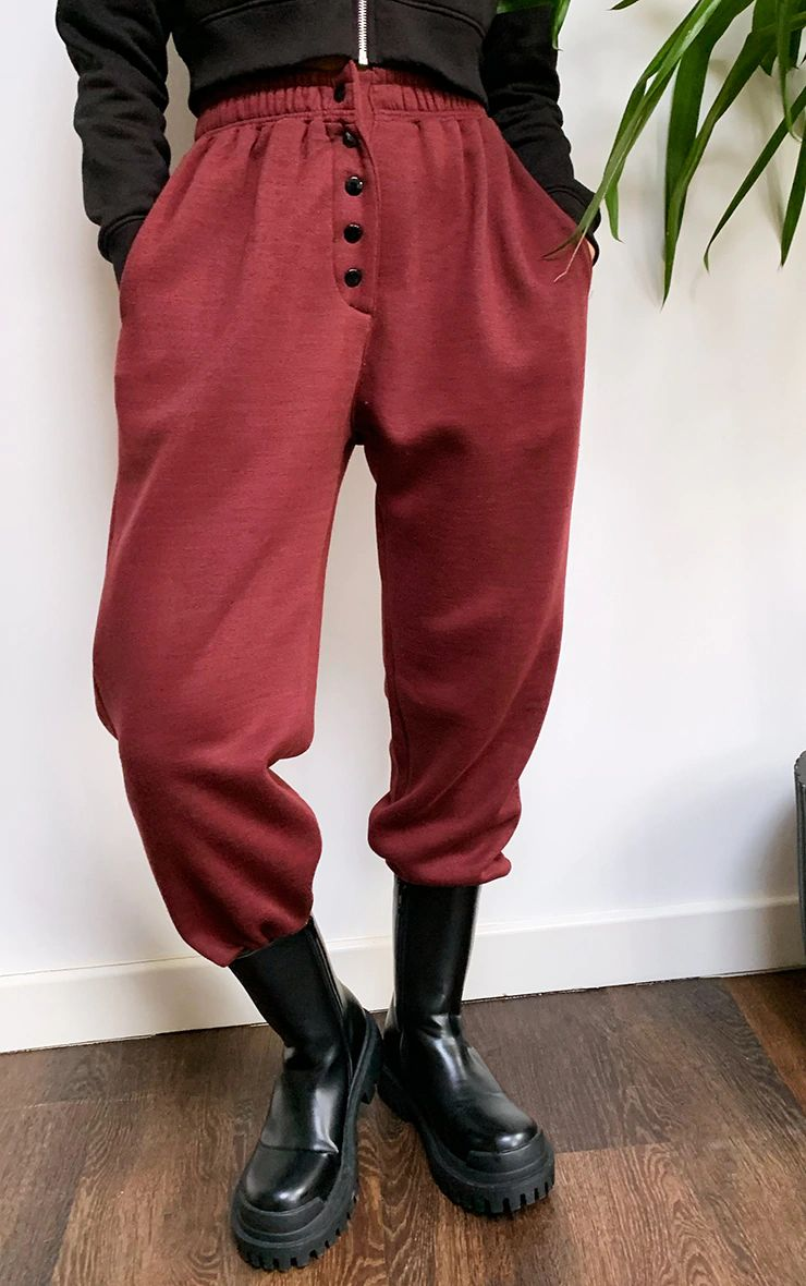 BURGUNDY POPPER FRONT REGULAR FIT JOGGERS