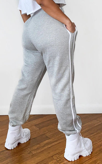 PLUS GREY DOUBLE SIDE STRIPE JOGGERS
