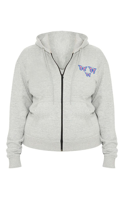 GREY BIG SIZE BUTTERFLY PRINT ZIP UP HOODIE