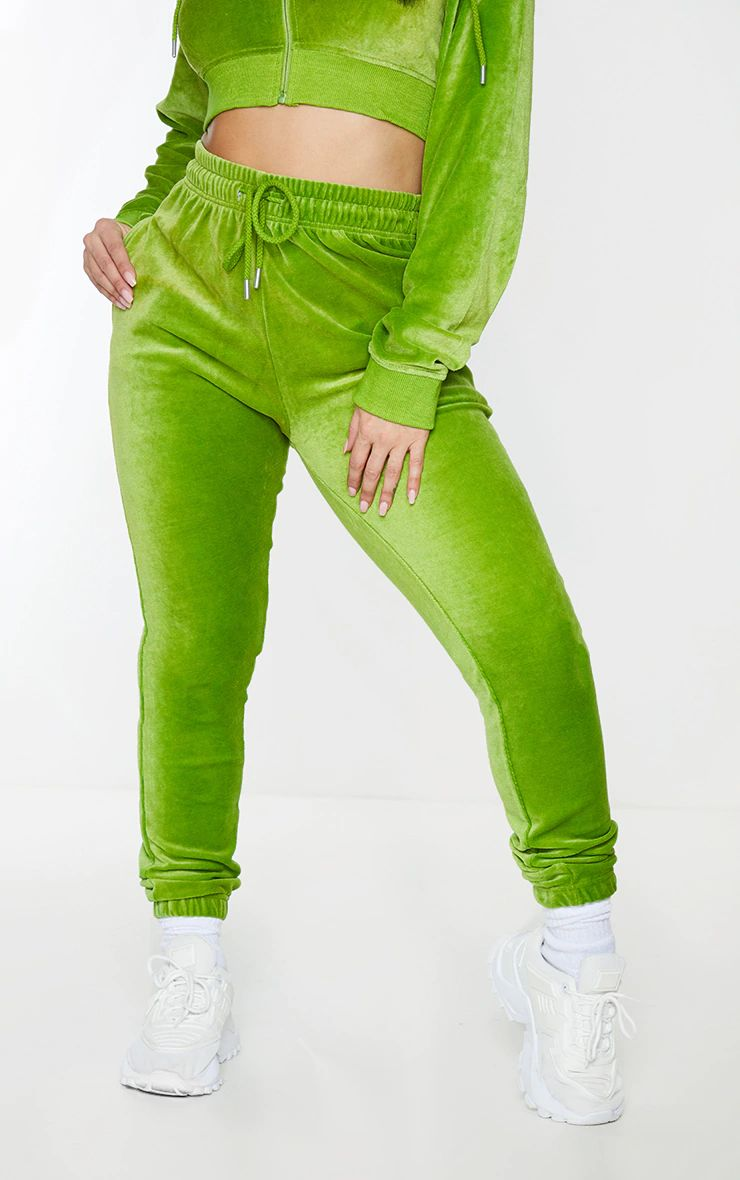 PRETTYLITTLETHING GREEN LIME VELOUR VELVET TRACK SUIT