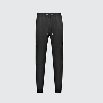 EXCLUSIVE MEN BLACK REGULAR FIT CARGO TROUSER