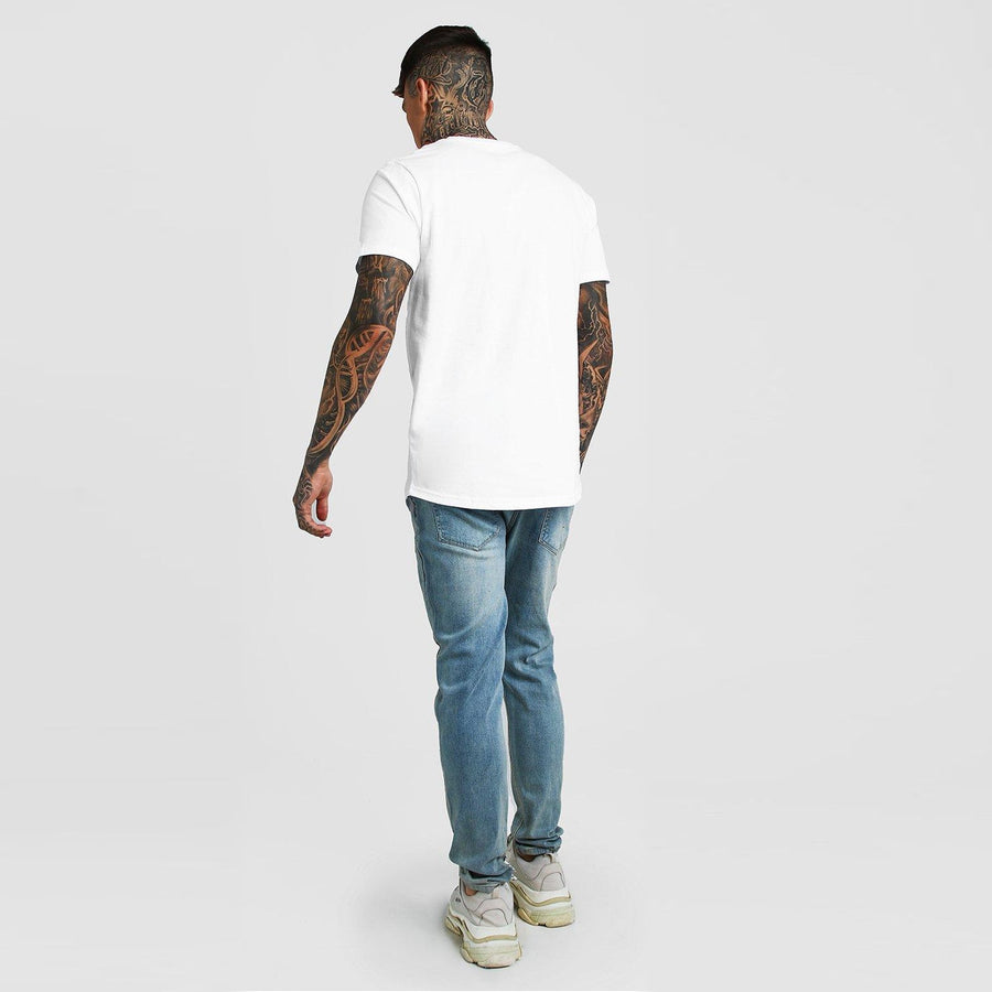 Men 'White' Casual Wear Slim Fit Cotton  T-shirt