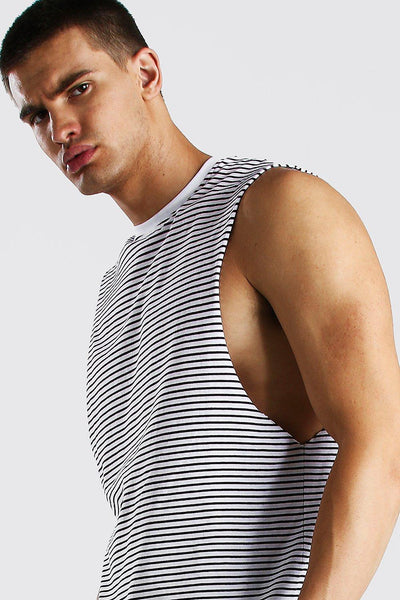 Man Navy Stripes Gym Racer Vest