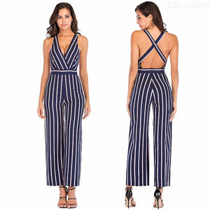 Summer Jumpsuits Sexy V Neck Striped Sleeveless Slim Wide Leg Pants For Women