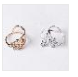 LNRRABC Butterfly Leaf Flower Rhinestones Stainless Steel Open Finger Rings For Women Fashion Jewelry