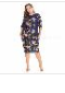 Women's Casual Plus Size Dress O-Neck Three Quarter Floral Print Autumn Straight Dresses For Women Navy Blue