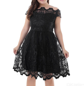 Womens Hollow-out Lace Dress Short Sleeve Embroidered Dress With Voluminous Hem