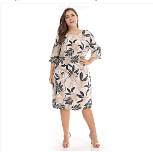 Fashion Large Size Round Neck Floral Print Three Quarter Sleeve Dress