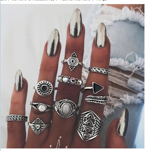 Fashion Rings Set Creative Vintage Totem Gem Feather 10 Piece Set Joint Rings Set Gem Crystal Hand Ring