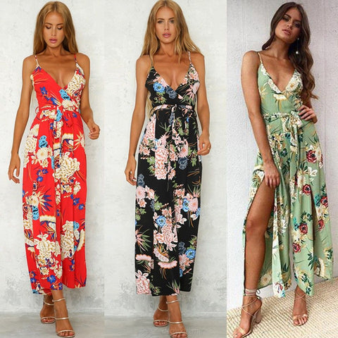 Summer Jumpsuits Floral Print Spaghetti Strap Sexy V Neck Spliter Playsuits For Women