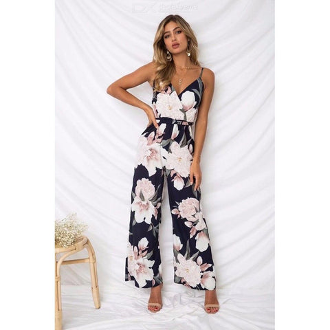 Fashion Jumpsuits Floral Print V Neck Spaghetti Strap Wide Leg Pants For Women