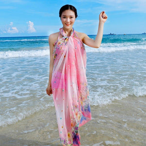 Women Chiffon Beach Plus Size Towel Silk Scarves Print Wrap Summer Scarf Sunscreen Shawl Cover Up