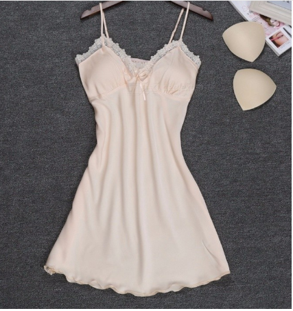 Summer Soft Silk Sexy V Neck Sling Strap Nightgown For Lady, Breathable Lace Padded Nightwear Lingerie