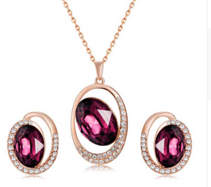 Xinguang Purple Crystal Penant Necklace + Earrings Set - Rose Golden