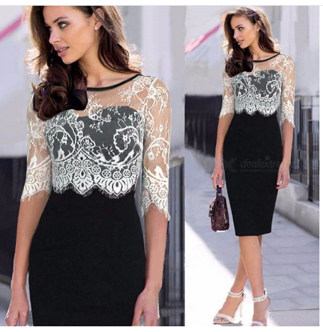 Womens Round Neck Elbow-length Sleeve Lace Dress, Contrasting Lace Dress With Openwork Details