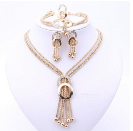 Women Bridal Fine Crystal African Beads Jewelry Sets for Wedding Party Dress Accessories Set Earrings Pendants Necklace Rings Gold