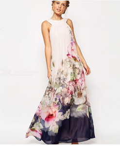 Summer Maxi Dress Sleeveless Shivering Floral Print O-Neck Party Dresses