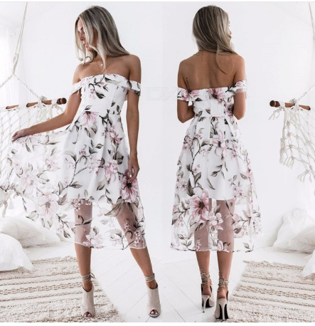 European Style Fashion Boat Neck Floral Print Organza Dress Women's Stylish Dress Ladies Elegant Clothes