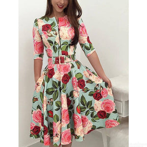 Fashion Half Sleeve Dress Vintage Rose Floral Print Zipper Knee-Length Dresses With Sashes For Women