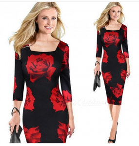 Europe And America Autumn Dress Red Rose Print Office Lady Three Quarter Sexy Pencil Dresses For Women Red