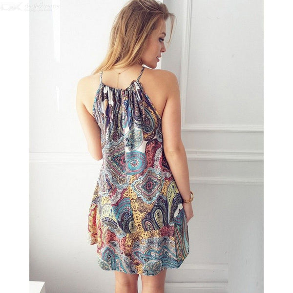 Summer Ocean Wind Print Sleeveless Dresses Beach Cover Ups For Women
