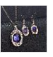 Oval Shape Rhinestones Decorated Gem Charm Pendant Necklace Earrings Set, Rose Golden Chain Necklace