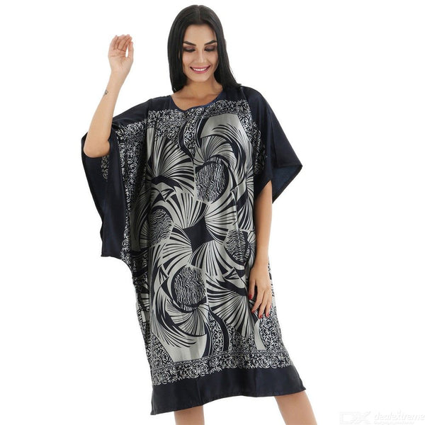 New Sexy Satin Nightwear Nightgown Plus Size Loose Nightdress For Women Summer Casual Sleepwear