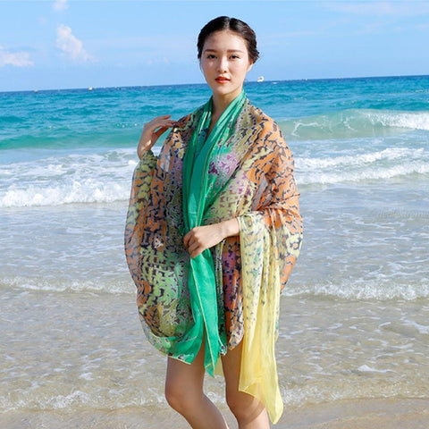 Chiffon Beach Long Towel Silk Scarves Leopard Print Wrap Summer Scarf Sunscreen Shawl Cover Up For Women