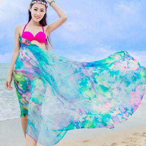 Beach Chiffon Large Silk Scarves Print Wrap Swimwear Cover Up Summer Scarf Sunscreen Shawl