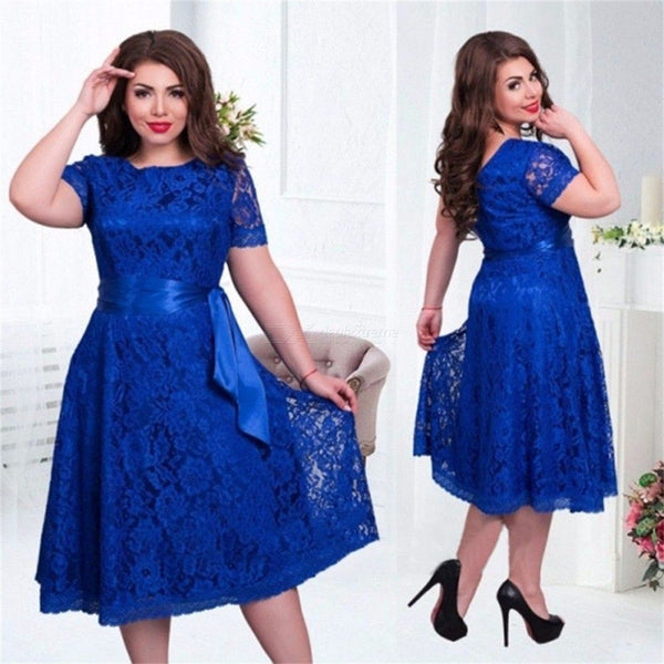 Womens Lace Dress Round Neck Short Sleeve Belted Dress
