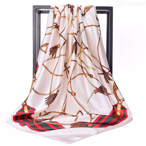 Women Silk Scarf Square Head Scarves Chain Print Shawl Silk Wrap 90x90cm