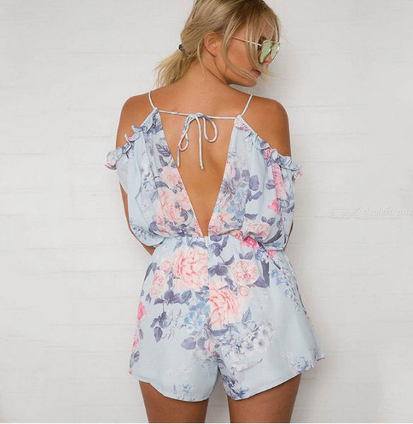 Summer Mini Beach Playsuits V Neck Floral Print Ruffles Backless Elastic Band Jumpsuits For Women