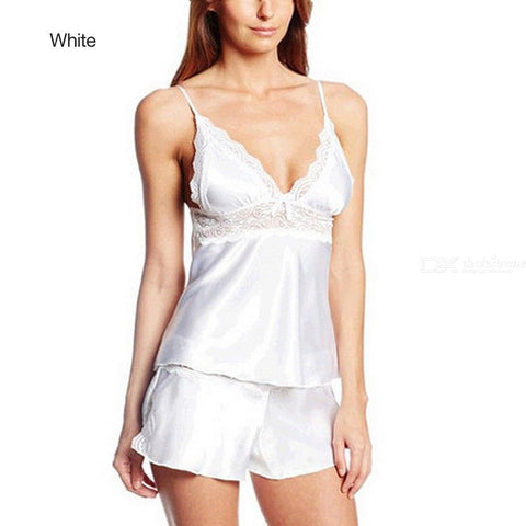 Womens V Neck Strappy Pajamas Set Solid Sleeveless Tank And Shorts
