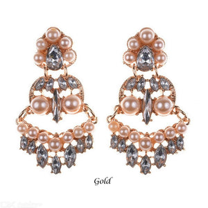 Exaggerated Dangle Earrings Alloy Diamond Pearl Temperament Personality Jewelry For Women