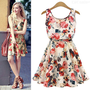Summer Boho Sleeveless Dress O-Neck Floral Print Pleated Chiffon Dresses For Women