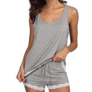 Gray Pajama Suit Striped Sleeveless Sleepwear Bamboo Tank And Shorts Set For Women