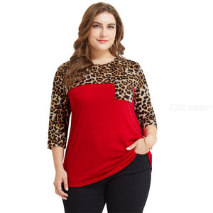 Europe And America Casual T Shirt Leopard Print Patchwork Pockets O-Neck Plus Size Shirts For Women