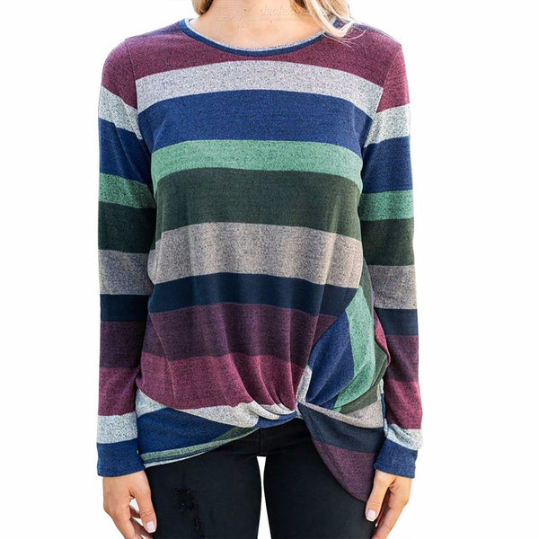Europe And America T Shirts Long Sleeve Striped O-Neck Irregular Knot Top For Women