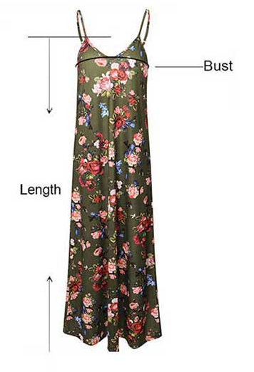 AM202 Womens Causal Long Printed Strappy Dress, V-neck Sleeveless Floral Dress For Women