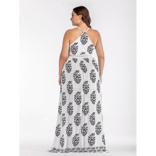Summer Dress Plus Size Bohemian Print Spaghetti Strap Vintage Maxi Split Dresses For Women
