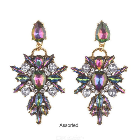 Exaggerated Dangle Earrings Diamond Petal Temperament Personality Jewelry For Women